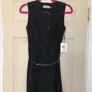 NWT! CALVIN KLEIN suede-like fit flare 2 XS dress